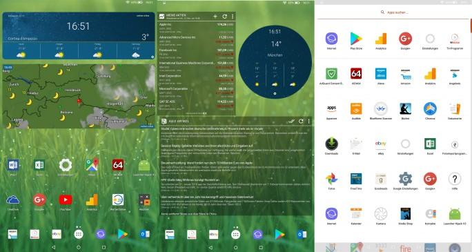 Nova Launcher mit Widgets auf Fire HD 10 (Screenshot: ZDNet.de)