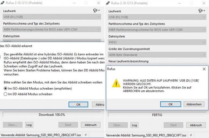 Rufus: Warnhinweis (Screenshot: ZDNet.de)