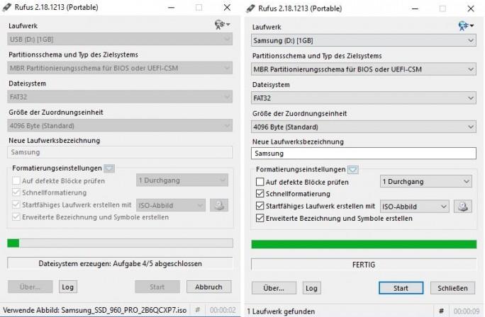 Rufus: Erstellung dauert 9 Sekunden (Screenshot: ZDNet.de)
