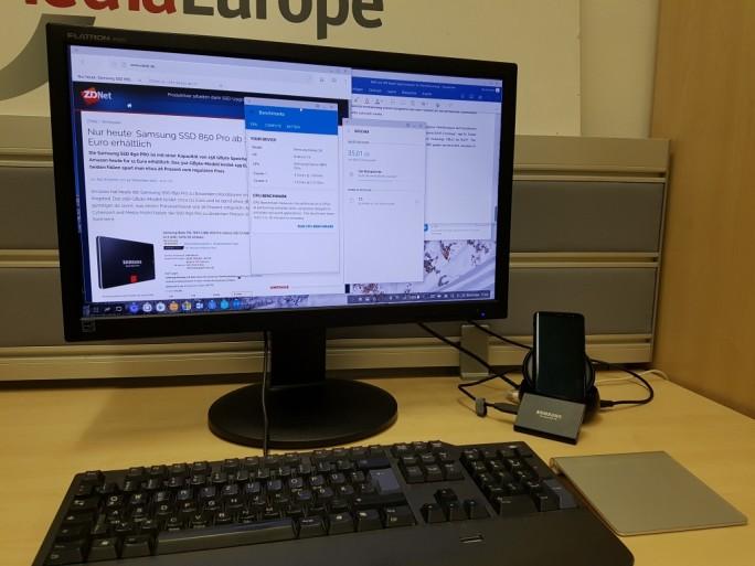 Samsung DeX: Magic Trackpad von Apple funktioniert (Bild: ZDNet.de)