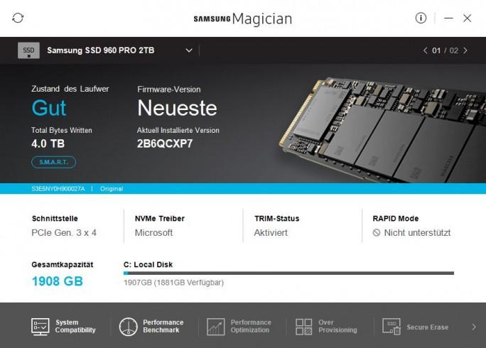 Samsung Magician zeigt Firmware an (Screenshot: ZDNet.de)