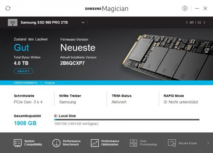 Samsung Magician zeigt Betriebsmodus und Treiber an (Screenshot: ZDNet.de)