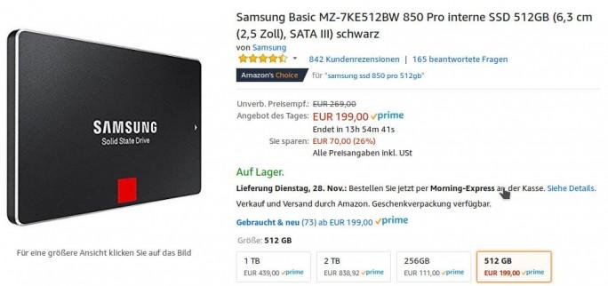 Samsung SSD 850 PRO mit 512 GByte für 199 Euro (Screenshot: ZDNet.de)