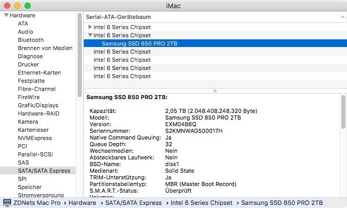 TRIM-Support unter macOS (Screenshot: ZDNet.de)