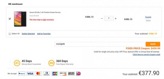 Das Xiaomi Mi Mix 2 kostet mit dem Rabattcode mix2gbth 377,90 Euro (Screenshot: ZDNet.de)