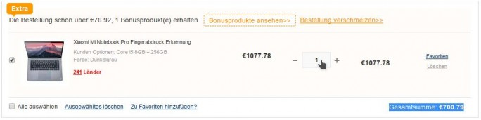 """Xiaomi Mi Notebook Pro mit Rabattcode """"BFzdnet"""" für 700,79 Euro (Screenshot: ZDNet.de)"""