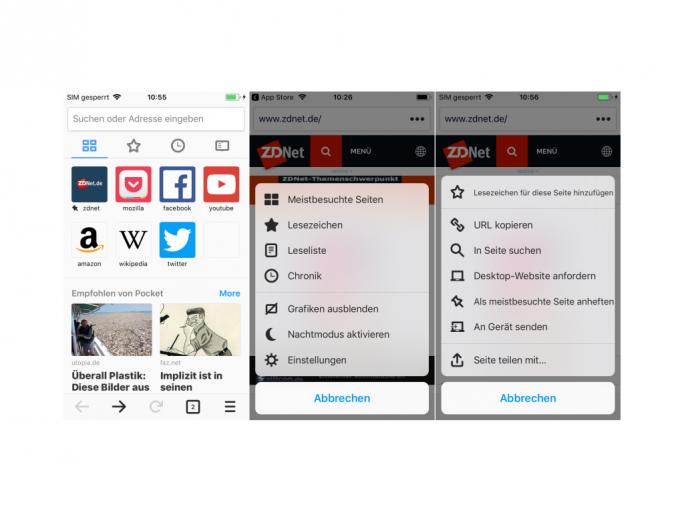 Firefox für iOS 10 präsentiert sich in einem neuen minimalistischen Design und mit neuen Menüs (Screenshot: ZDNet.de).