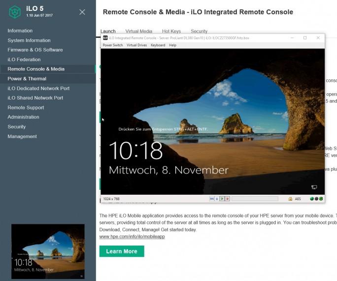 Mit der Remote-Konsole in iLO können Betriebssystem verwaltet und installiert werden (Screenshot: Thomas Joos).