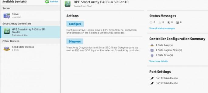 Die Verwaltung des RAIDs erfolgt über den Smart Storage Administrator (Screenshot: Thomas Joos).