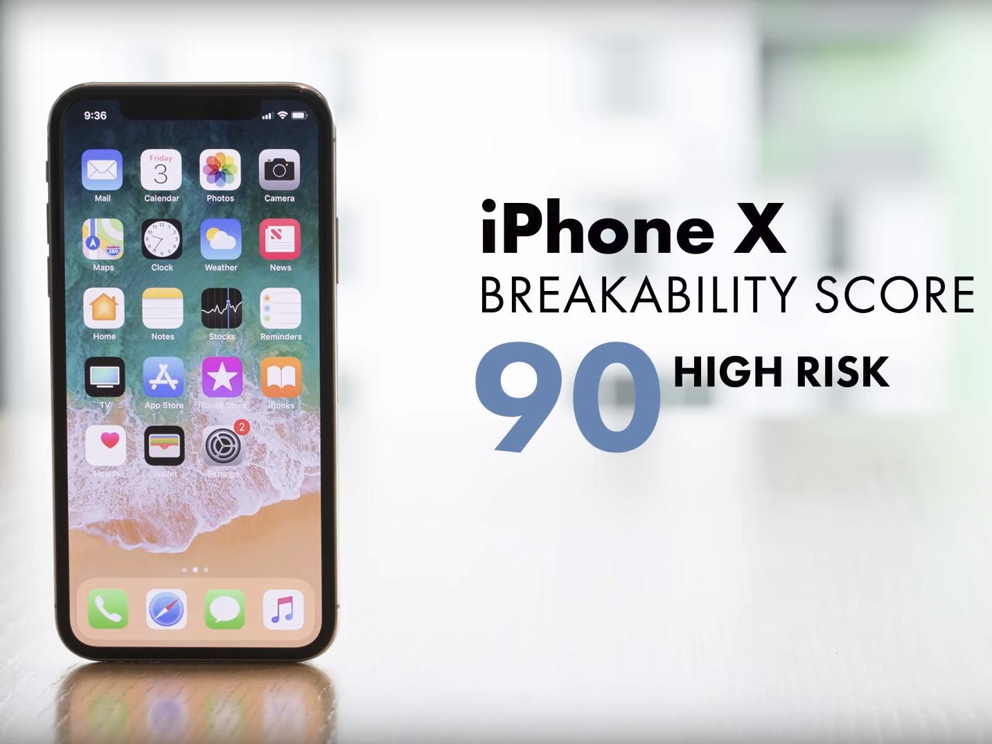 Das Risiko Eines Schadens Durch Einen Sturz Bewertet Square Trade Beim IPhone X Mit 90 Von 100 Moglichen Punkten Bild