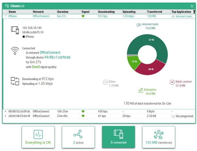 Im Webportal von HPE OfficeConnect OC 20 Access Points lassen sich umfassende Statistiken zu einzelnen Geräten anzeigen (Screenshot: Thomas Joos).