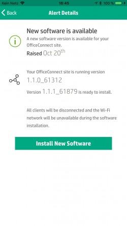 Über die Smartphone-App können HPE OfficeConnect OC20 Access Points sich selbst schnell und einfach aktualisieren (Screenshot: Thomas Joos).