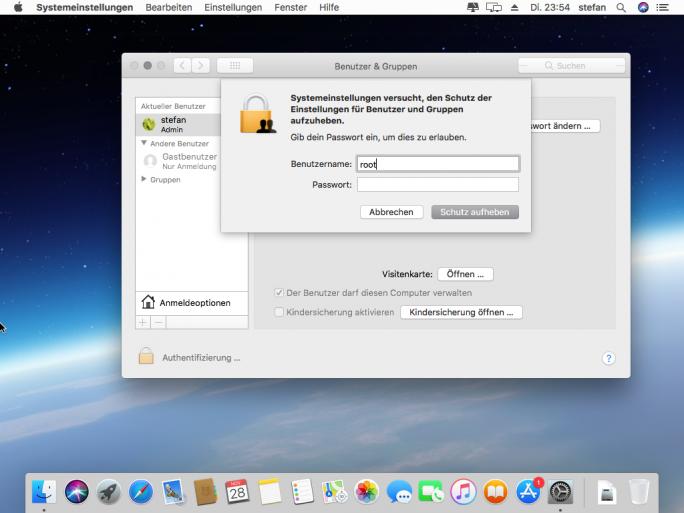 Ein Bug in macOS High Sierra 10.13 erlaubt die Aktivierung des Root-Kontos ohne Eingabe eines Passworts (Screenshot: ZDNet.de).