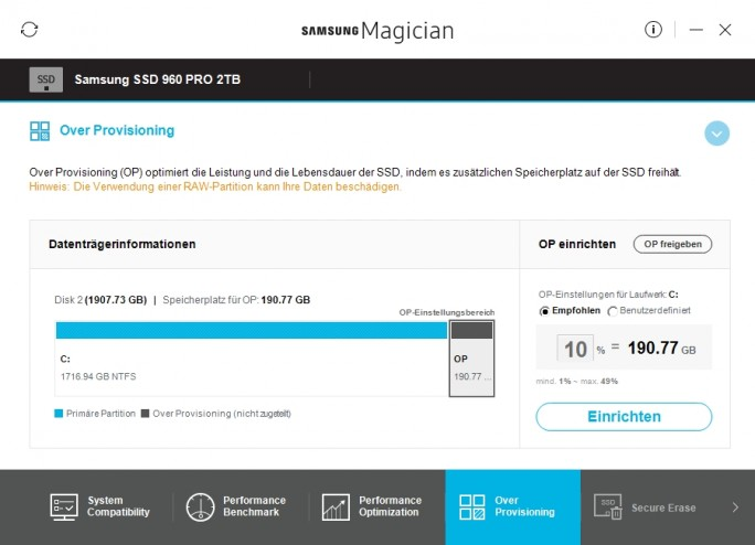 Samsung Magician: Over-Provisioning einstellen (Screenshot: ZDNet.de)
