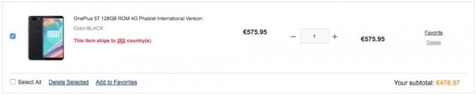 Gearbest: OnePlus 5T 128 GByte für 478 Euro (Screenshot: ZDNet.de)
