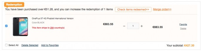 Gearbest: OnePlus 5T 64 GByte für 427,30 Euro (Screenshot: ZDNet.de)