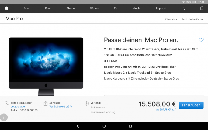 Apple iMac Pro (Screenshot: ZDNet.de)