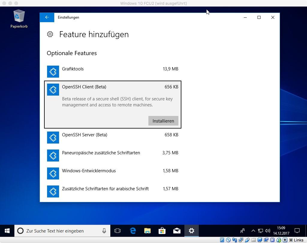 OpenSSH wird Bestandteil von Windows 10