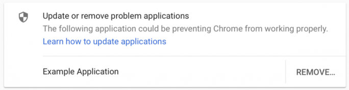 Chrome weist künftig nach einem Absturz auf Anwendungen hin, die Code in den Browserprozess einfügen (Screenshot: Google).