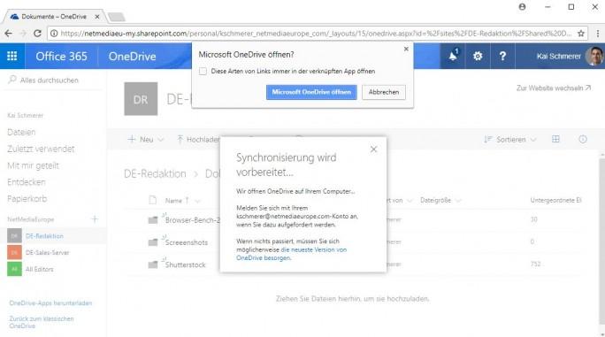OneDrive: Daten synchronisieren (Screenshot: ZDNet.de)