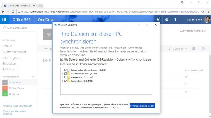 OneDrive: Daten für die Synchronisation auswählen (Screenshot: ZDNet.de)