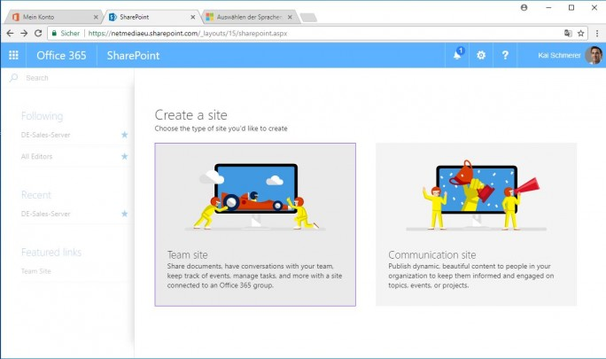 Sharepoint: create Team site (Screenshot: ZDNet.de)