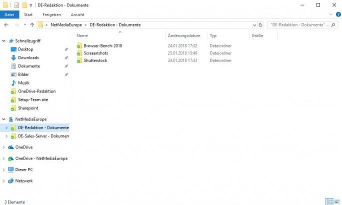 Sharepoint: Nach dem Start der Synchronisation der Teamwebsite erscheint ein entsprechender Eintrag im Explorer (Screenshot: ZDNet.de)
