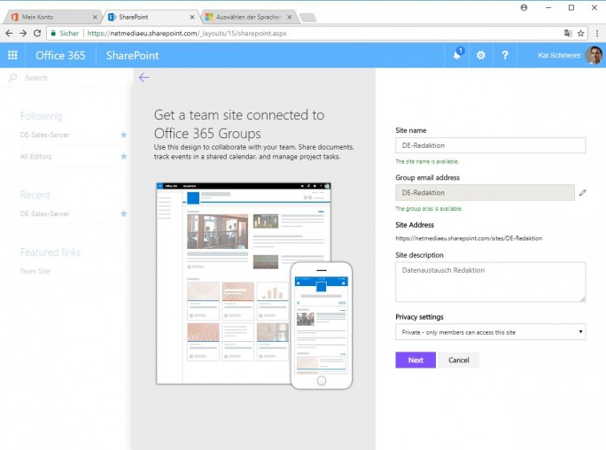 Sharepoint: Team site (Screenshot: ZDNet.de)