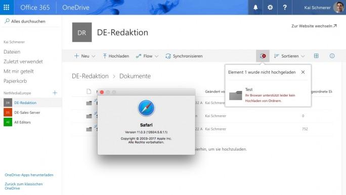 Sharepoint: Safari unterstuetzt kein Ordner-Upload (Screenshot: ZDNet.de)