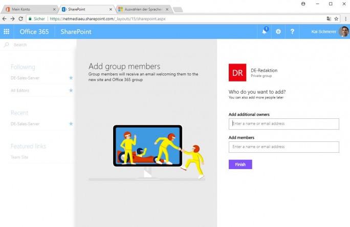Sharepoint: Team members/owners (Screenshot: ZDNet.de)