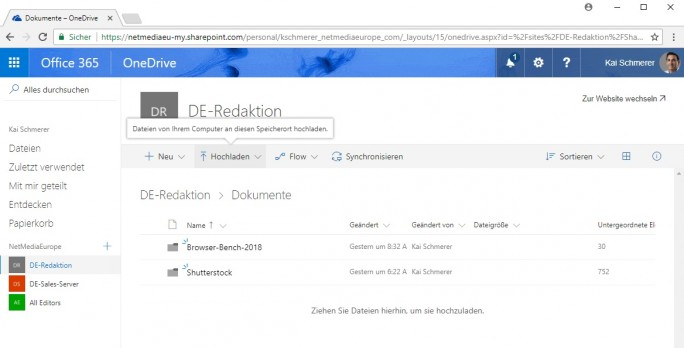 Sharepoint: Dateien auf Teamwebsite hochladen (Screenshot: ZDNet.de)