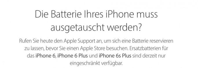 Apple hat nicht genügend Austauschakkus vorrätig (Screenshot: ZDNet.de)
