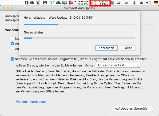 Download mit aktiviertem Kabel-Profil (Screenshot: ZDNet.de)