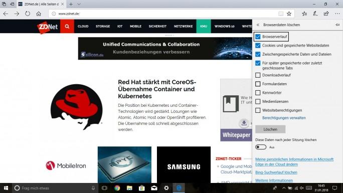 Edge-Browserdaten löschen: Strg + Shift + Entfernen (Screenshot: ZDNet.de)