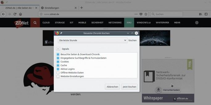 Firefox-Browserdaten löschen mit Tastenkombination Strg + Shift + Entfernen (