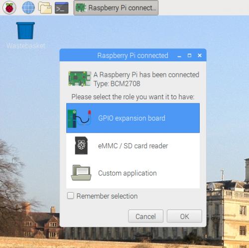 Der GPIO-Expander kann jetzt auch mit dem Rasberry Pi Zero verwendet werden, wenn ein PC über USB angeschlossen ist (Bild: Raspberry Pi Foundation) .