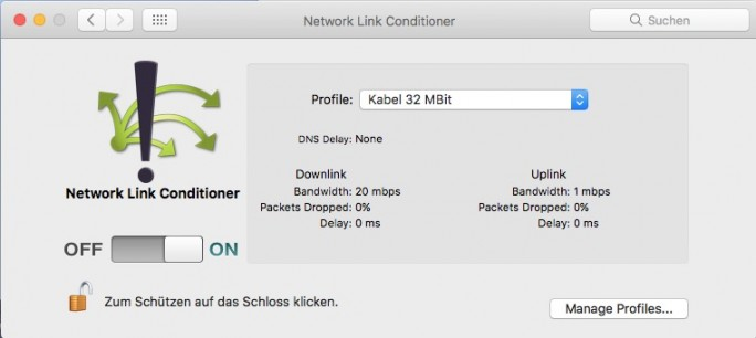 Network Link Conditionier mit Kabel-Profil (Screenshot: ZDNet.de)