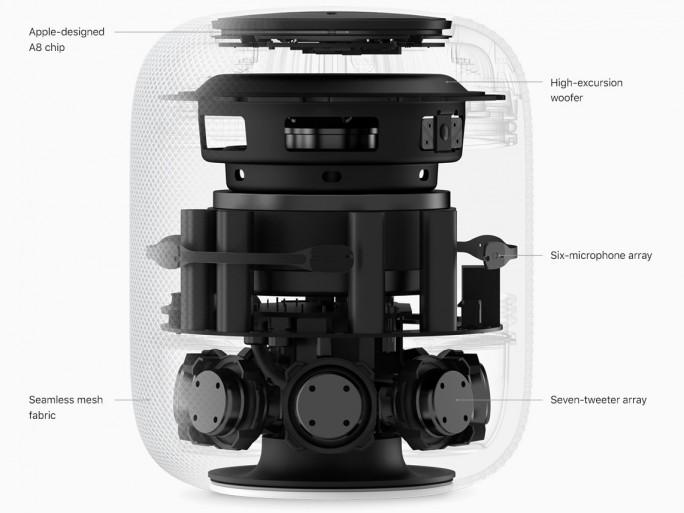 Im Inneren des HomePod hat Apple einen selbst entwickelten Woofer und sieben Tweeter verbaut (Bild: Apple).