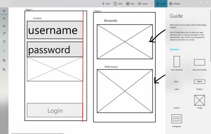 Ink to Code wandelt Skizzen in Textfelder, Buttons oder Bildfelder in einer App um. Eine vollständige Anwendung kann man damit aber noch nicht entwickeln, lediglich die ersten Schritten sollen damit schneller erledigt werden können (Bild: Microsoft)