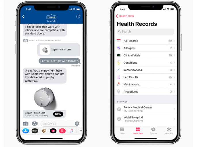 iOS 11.3 Business-Chat und Health-App (Bild: Apple).