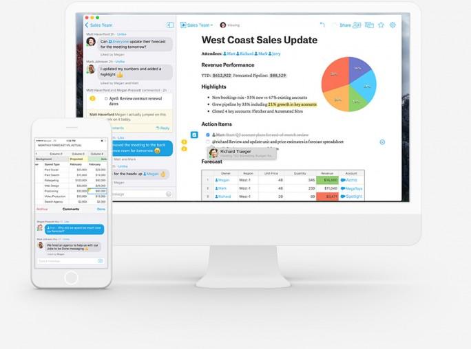 Mit Unterstützung von Watson sollen Live Apps in das Collaboration-Tool Quip integriert werden können und Nutzer sollen damit noch effektiver arbeiten können (Bild: Salesforce)