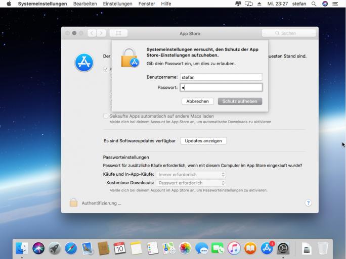 Ein Fehler in macOS High Sierra 10.13.2 gibt ohne Eingabe eines gültigen Passworts die gesperrten Einstellungen für den App Store frei (Screenshot: ZDNet.de).