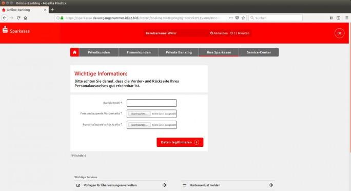 Gefälschte Website fordert Sparkassen-Kunden zum Hochladen von Vorder- und Rückseite ihres Personalausweises auf (Screenshot: Polizei Niedersachsen).