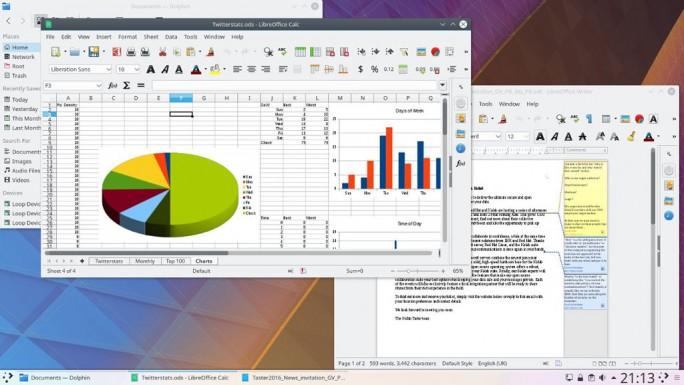 LibreOffice in der Oberfläche von KDE neon auf dem Slimbook 2 (Bild: KDE)