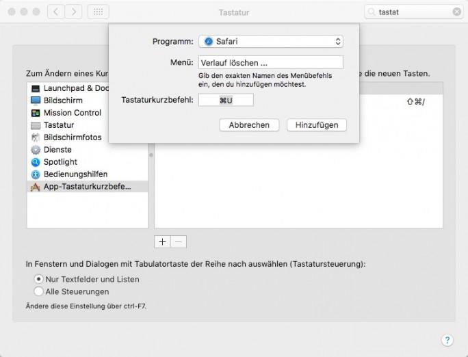 Safari: Tastaturkombination für Browserverlauf löschen anlegen (Screenshot: ZDNet.de)