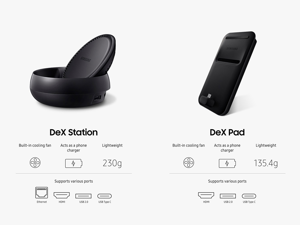 galaxy s9 im desktop einsatz samsung dex pad mit vor und. Black Bedroom Furniture Sets. Home Design Ideas