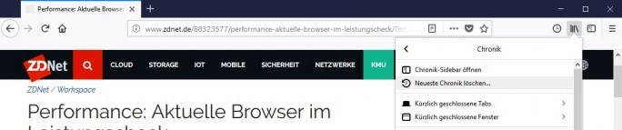 Chronik löschen: Bibliothek - Chronik löschen (Screenshot: ZDNet.de)