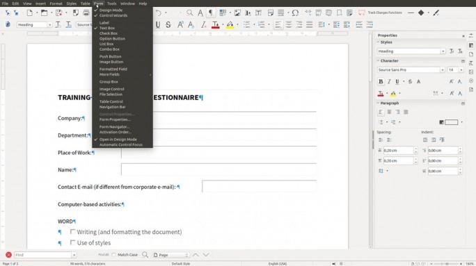 Über ein neues Menü lassen sich PDF-Formulare schneller als bisher erstellen (Bild: The Document Foundation)