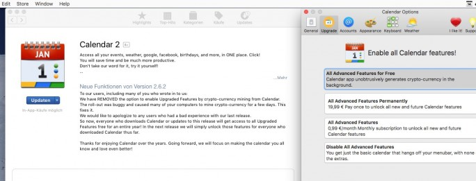 Calendar 2 mit Krypto-Mining (Screenshot: ZDNet.de)