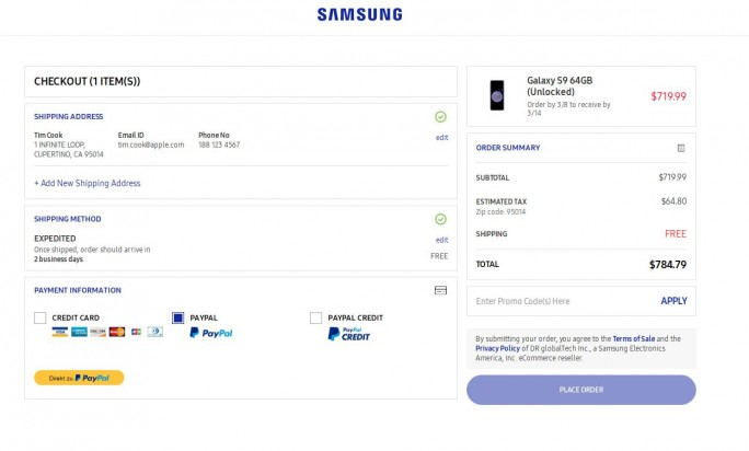 Galaxy S9 kostet in den USA umgerechnet 703 Euro (Screenshot: ZDNet.de)